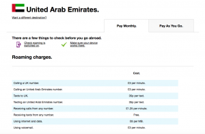 Roaming Charges Three H3G UK In UAE