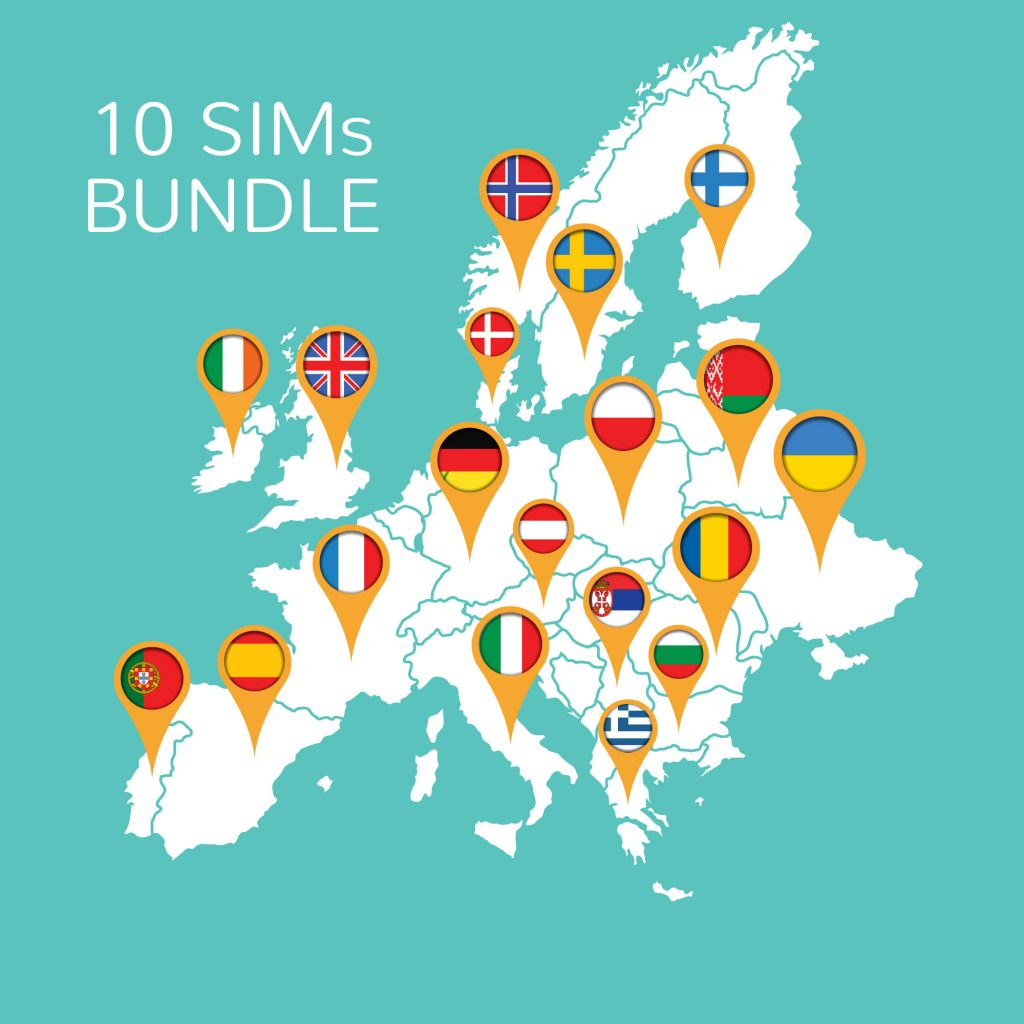 BNESIM Surf Europe Unlimited – 10 SIMs bundle: Unlimited GB of data in the European Community